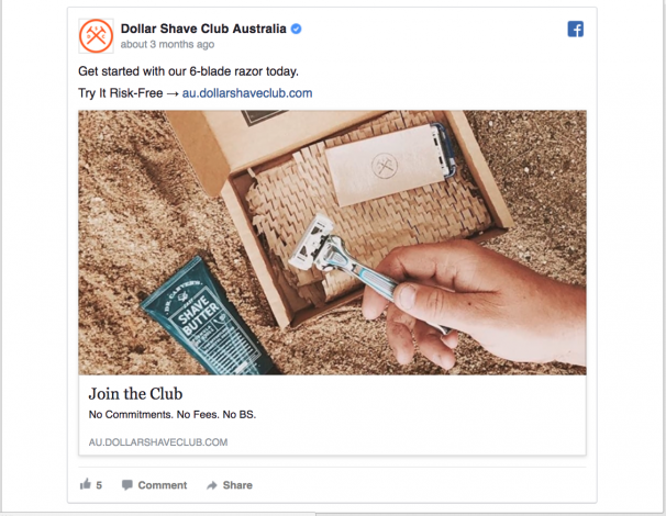 Perfect Facebook Ad by Dollar Shave Club