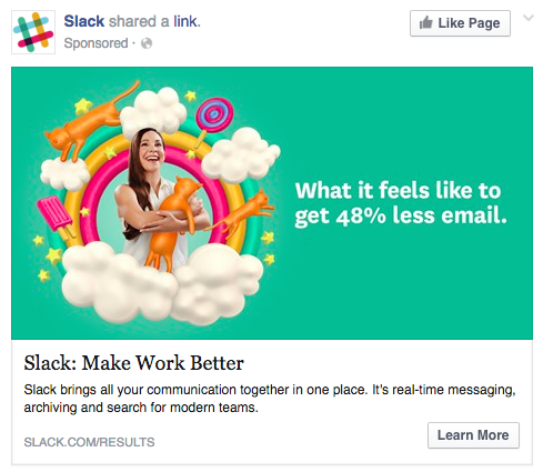 Perfect Facebook Ad by Slack