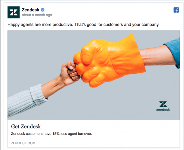 Perfect Facebook Ad by Zendesk