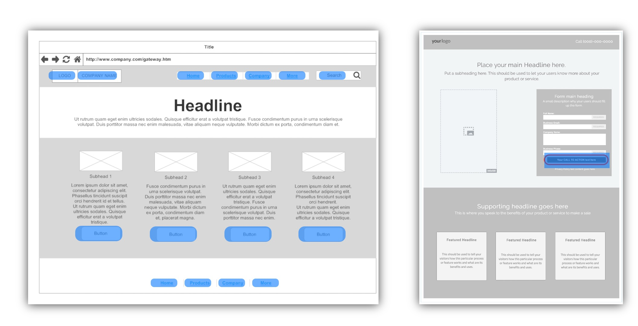 Comparison of Homepage and Landing Page image